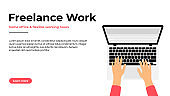 Freelancer working at home on laptop. Work at home, freelance jobs and vacancies concept. Freelancer character sitting with laptop at the comfortable workplace, top view