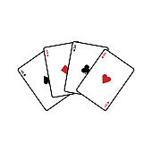 Four aces playing cards. Vector icon
