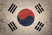 Grunge South Korea flag. South Korea flag with grunge texture.