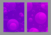Purple fluid cover design. Brochure of liquid gradient shapes composition. Futuristic design posters. Fluid background design abstract bubble shapes for print or web on purple background.