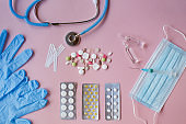Medicine concept, syringe, pills and phonendoscope