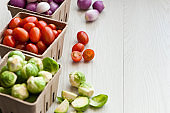 Brussels sprouts and Cherry tomatoes and Onions