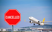 Stop sign, quarantine concept. Cancellation of airline flights to the infected countries of the world.