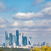 Moscow International Business Center modern cityscape from sparrow hill in Moscow, Russia