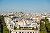 Aerial view of the old town of Paris, from the top of the Arc de Triomphe at the Champs-Elysees Avenue in Paris, France
