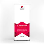 Banner design, roll-up stand for advertising, conferences, seminars, poster template for placing photos and text. Creative background for presentation