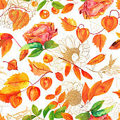 Seamless pattern with watercolor autumn leaves and flowers