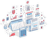 Taxation concept, tax form or paper sheet legal document with calculator and calendar isolated on white. 3d vector business isometric illustration with icons, stats charts and design elements.