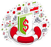 Financial safety and protection concept, Life Buoy and metal Shield isolated on white background. Vector 3d isometric business illustration with icons, stats charts and design elements.