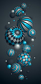 Abstract spheres vector phone background, composition of flying balls decorated with patterns, 3D mixed variety realistic globes with ornaments, smartphone wallpaper.