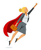 Businesswoman superhero flying up powerful vector illustration, brave and powerful hero woman in business manager career to success, entrepreneur or CEO.