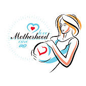 Pregnant female beautiful body outline, mother-to-be drawn vector illustration. Maternity hospital advertising flyer