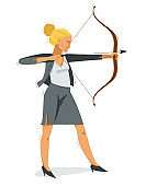 Business woman shooting a bow vector illustration, ambitions career and goal concept, achievement businesswoman motivated for success.