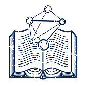 Open book with molecule vector linear icon, education and scientific literature library reading line art symbol or logo, chemistry or physics.
