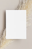 Invitation white card mockup with a pampas grass decoration. 5x7 ratio, similar to A6, A5.