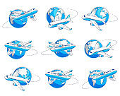 Airlines air travel emblems or illustrations with plane airliner and planet earth. Beautiful thin line vectors set isolated over white background.