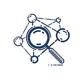 Magnifying glass and molecule vector simple linear icon, science chemistry and physics line art symbol, research biotechnology and biology.