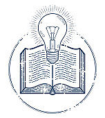 Open book with idea light bulb vector linear icon, education and scientific literature library reading line art symbol or logo.
