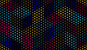 Dotted seamless isometric geometric pattern, dots 3D cubes vector tiling background, architecture and construction, wallpaper design.