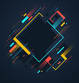 Artistic colorful frame with different elements over dark, vector abstract background art style bright shiny colors, geometric design.