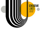 3D black and white lines in perspective with yellow elements abstract vector background, linear perspective illustration op art.