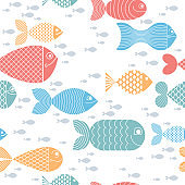 Cute fiches seamless background, seamless pattern, cute childish background for children textile or wrapping paper or packaging for seafood products.