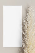 Menu card mockup with a pampas grass deocoration, 4x9 ratio.