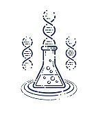 Chemical flask with DNA strand vector simple linear icon, science biology and biotechnology line art symbol, medical laboratory research.