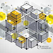 Template 3D yellow design layout for brochure , flyer , poster, advertising, cover, vector abstract modern background. Composition of cubes, hexagons, squares, rectangles and different abstract elements.