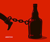 Bottle as a weight on shackles chain to leg alcoholism metaphor vector trendy design of social advertising poster or banner, addiction to alcohol bad habits and problems.