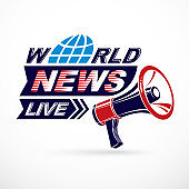 Public information campaign idea vector poster, world live news writing composed using megaphone equipment.
