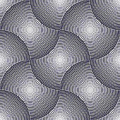 Abstract lines geometric seamless pattern, vector repeat endless fabric background. Overlapping circles funky theme. Single color, black and white. Usable for fabric, wallpaper, wrapping, web and print.