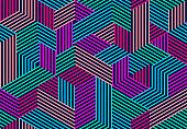 Seamless isometric lines geometric pattern, 3D cubes vector tiling background, architecture and construction, wallpaper design.
