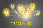 Group of shining light bulbs represents idea of creative people teamwork having ideas working together, creative team concept, vector illustration.