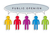 Public opinion concept crowd of people talking speech bubble vector concept design, social poll.