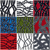 Horror art style seamless patterns set, vector backgrounds collection. Hard Rock and Heavy Metal subculture music textile fashion stylish design. Blackthorn branches with thorns and tangled roots stylish endless illustrations.