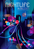 Big city nightlife with street lamps and bokeh blurred lights. Effect vector beautiful background. Blur colorful dark background with cityscape, buildings silhouettes skyline. Brochure, flyer, cover, poster or guidebook template.