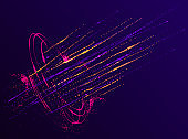 Dots particles flowing vortex vector abstract background, biology science theme whirl design, dynamic elements in spin motion.