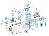 Taxation concept, tax form or paper sheet legal document with calendar isolated on white. Isometric 3d vector finance illustration with icons, stats charts and design elements.