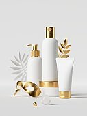 3d render, white cosmetic bottles with golden caps, tropical leaf and mask. Premium design beauty products set. Clean style blank package mockup, commercial showcase