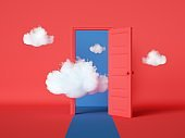 3d render, white clouds going through, flying out the open door, objects isolated on bright red background. Abstract metaphor, modern minimal concept. Surreal dream scene