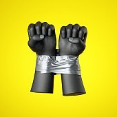 3d render, black human hands fists tied with tape, isolated on yellow background. Human rights violation. Political statement