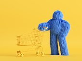 3d render, funny Yeti cartoon character stands with empty shopping cart, hairy blue monster toy. Sale concept. Commercial clip art isolated on yellow background