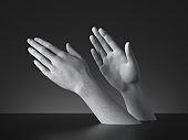 3d render, sign language, mannequin hands gesture isolated on black background. Modern minimal concept, simple clean design. Concrete sculpture. Artificial human limb