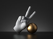 3d render, mannequin hand two fingers up and golden ball, victory gesture, isolated on black background, modern minimal concept, simple clean design. Human limb prosthesis. Sculpture art object