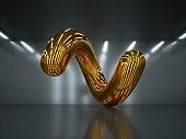 3d render, abstract geometrical shape, shiny metallic spiral, glossy yellow chrome object inside dark room with white ceiling lamps, futuristic background