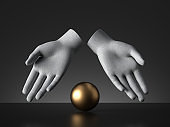 3d render mannequin hands showing golden ball, magical trick, palmistry metaphor, isolated on black background, modern minimal concept, simple clean design. Human limb prosthesis. Sculpture art object