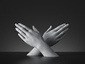 3d render, sign language, mannequin crossed hands gesture isolated on black background. Modern minimal concept, simple clean design. Concrete sculpture. Artificial human limb