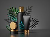 3d render, black cosmetic bottles with golden caps isolated on dark background. Commercial showcase with tropical palm leaves. Set of skin care products for men, blank package mockup premium design.