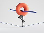 3d render. Abstract geometric cartoon character, confident graceful tightrope walker. Red torus with mannequin legs walks on rope. Balance metaphor. Minimal clip art isolated on white background